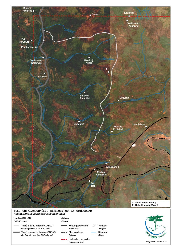 Solutions retenues pour l'aménagement de la route minière